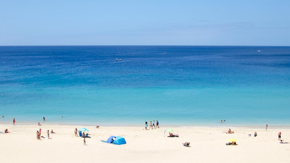 Fuerteventura-Wyspy-Kanaryjskie-turkusowy-Ocean-Atlantycki-bialy-piasek-zycie-na-plazy-wakacje-fotografia-do-wystroju-wnetrza-Anna-Hnatyszak
